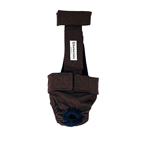 Barkertime Premium Waterproof Dog Diaper Overall - Made in USA - Chocolate Brown Escape-Proof Premium Waterproof Dog Diaper Overall