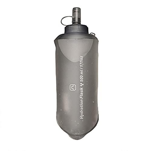 Borraccia pieghevole per sport all'aria aperta, morbida, 500 ml di poliuretano termoplastico, borsa per acqua corrente, borraccia motivazionale con coulisse per fitness, palestra(grigio)