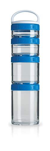 BlenderBottle GoStak Behälter zum Aufbewahren von Protein, Eiweiß, Pulver, Vitaminen und mehr- Starter 4Pak inkl. Henkel  (150ml, 100ml, 60ml und 40ml), cyan