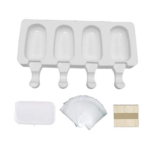 tidystore Moldes de silicona para máquina de hielos, molde para crema de horno con tapa, 50 varillas de madera y 50 bolsas para cubitos de hielo