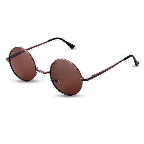 Dollger John Lennon Style Gafas de sol polarizadas redondas vintage para hombres y mujeres(Marco marrón / marrón)
