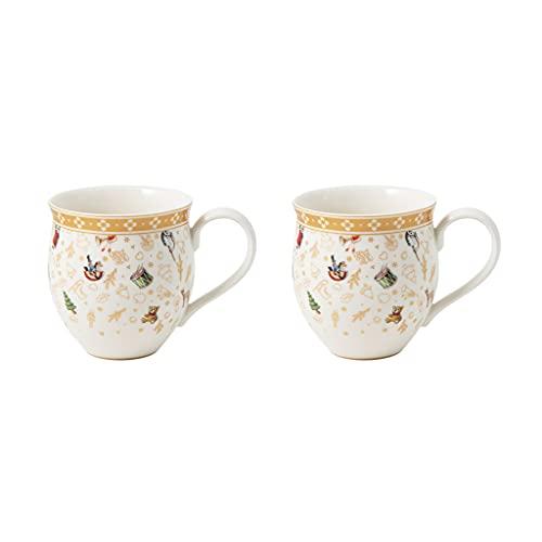 Villeroy & Boch - Toys Delight Lot de 2 mugs avec anse, mugs de collection décoratifs de l'édition anniversaire, porcelaine, multicolore/or/blanc, 440 ml
