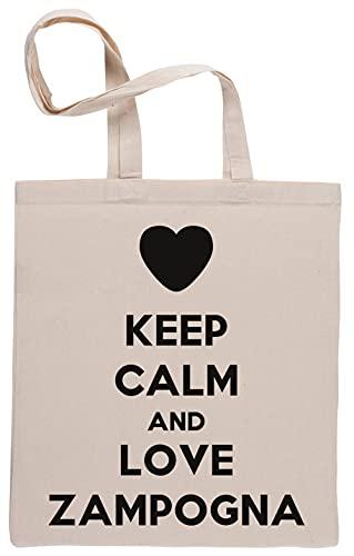 Keep Calm And Love Zampogna Borse per La Spesa Riutilizzabili Shopping Bag Beige