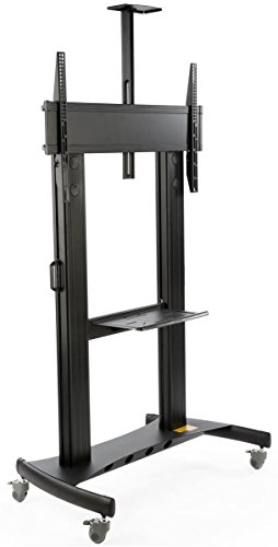 TV Cart with Wheels, for Monitors Between 60 and 100 Inch, Video Camera Shelf, Steel & Aluminum (Black)