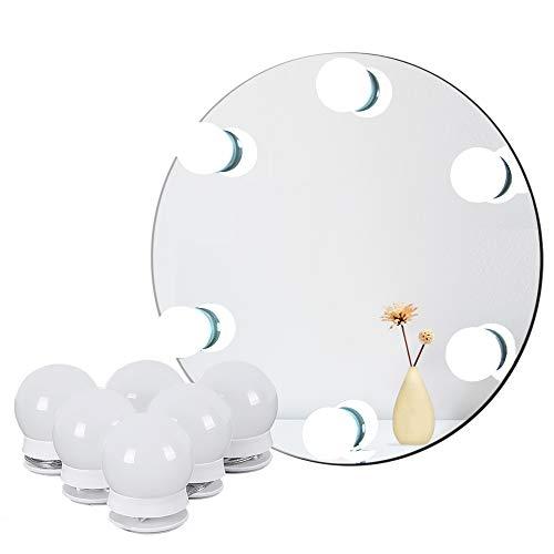 LED Spiegelleuchte für Schminktisch Beleuchtung, Hollywood Licht für Spiegel, Schminklicht Spiegellampe für Schminkspiegel mit Dimm-Funktion, 6 Lampen 2.7 Meter, Spiegel Nicht Inbegriffen