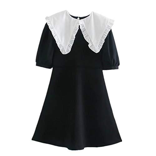 N\P Mini vestido negro de punto de las señoras de encaje blanco patchwork