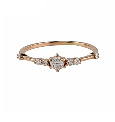 Gowe 0,15ct Runde Form natürlicher Diamant Akzente Art-Deco Vintage-Stil 18K Rose Gold