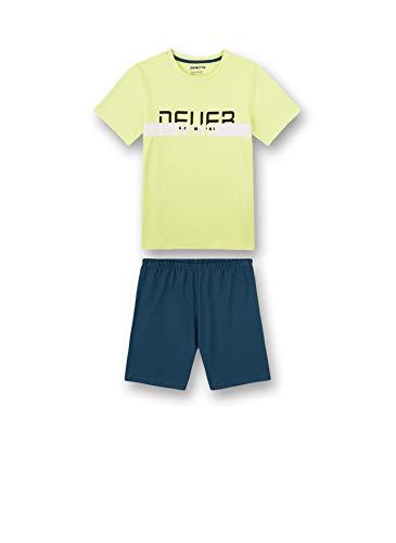 Sanetta Jungen Schlafanzug kurz gelb Pyjamaset, New Lime, 188