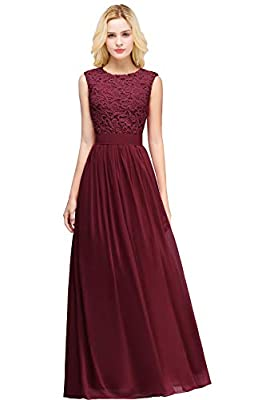 MisShow Lace Chiffon Prom Bridesmaid Dresses Long 2019 Formal Evening Gowns