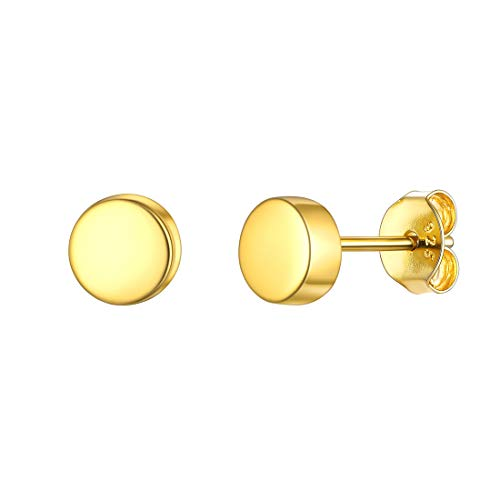 Gold Round Dot Earrings 925 Sterling Silver Tiny Stud Earring fits Girls Sensitive Ears Gift for Women Daughter