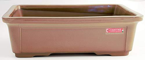 CERTRE Bonsai Vase rectangulaire en grès 9001 – 24 x 18 cm Salvia (fourni de série avec 2 trous sur le fond)