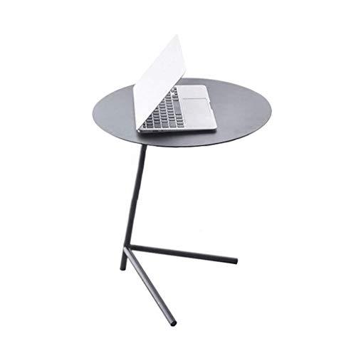 Table d'appoint Table Ronde Petite Table Basse Portable Etagère Multifonctions Etabli Salon Table de Chevet Terrasse (Color : Black)
