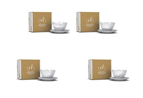 4 x Tasse by FIFTYEIGHT - grinsend + küssend + och bitte + lecker - Kaffeetassen 2-tlg. weiß