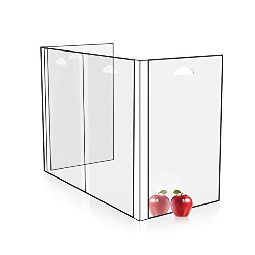 Sneeze Guard Desk Shield - Portable and Clear Protective Barrier for Counter Dining Table Student Partition Shield, Easy to Clean and Bring Best Partition for Classroom or Office 23.2''W16.2''H
