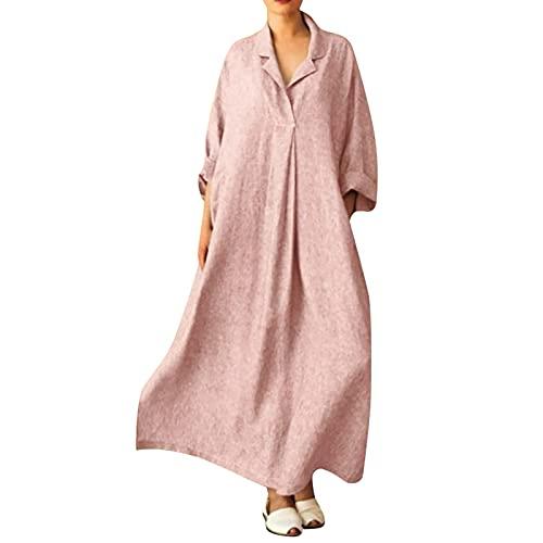 Alwayswin Maxiklänningar dam vintage långärmad linneklänningar enfärgade casaul skjortklänningar sommarklänning plus klänning bomull lång skjorta klänning fritidsklänning luftiga klänningar