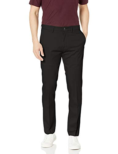 Haggar Men's Premium No Iron Khaki Slim Fit Flat Front Casual Pant, Black, 29Wx30L