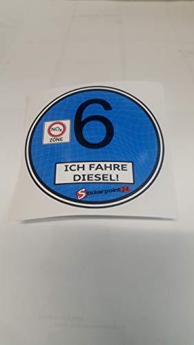 stickerpoint24 Euro 6 Plakette Aufkleber Ich fahre Diesel