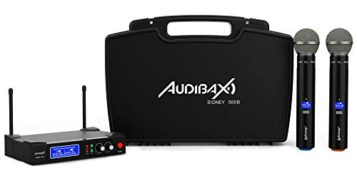 Audibax - Sidney 500 B - Micrófono Inalámbrico Profesional UHF - Set de 2 Micrófonos de Mano + Maleta - Rango de Cobertura 50 metros - Incluye Receptor Display - Pilas Tipo AA