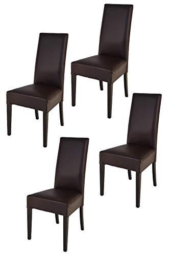Tommychairs - Set 4 sillas Luisa para Cocina, Comedor, Bar y Restaurante, solida Estructura en Madera de Haya Color wengè y Asiento tapizado en Polipiel Color Moka