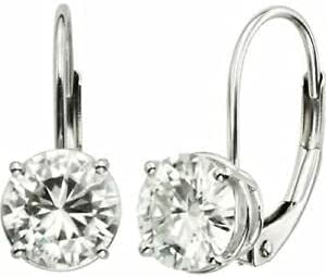 2.80Ct Round Cut Simulated Moissanite Leverback Hoop Earring 14K White Gold Plated