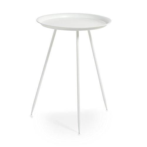 Zeller 17003 Beistelltisch, rund, Metall, weiß, ca. Ø 39 x 53,5 cm