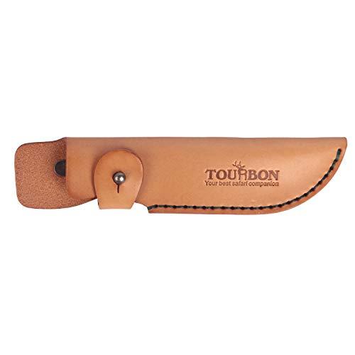 Tourbon Turbon Messerhülle für Jagdmesser, handgefertigt, Vintage-Design, aus pflanzlich gegerbtem dickem Leder