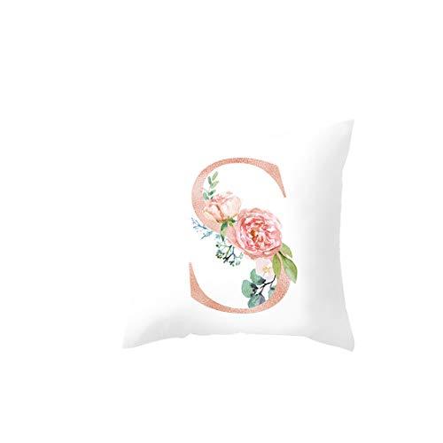 Funda de cojín para sofá, diseño de letras del alfabeto para sofá, coche, cafetería, club, decoración, funda de almohada de flores práctica y popular