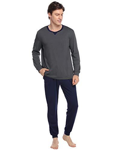 Abollria Pijamas Hombre Algodón 2 Piezas Mangas Larga Pantalon Largo Invierno Cómodo y Agradable (XL, Gris Oscuro_4)