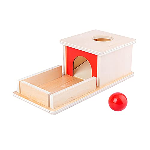 Caja de permanencia de objetos, juguete Montessori de madera con bola para el hogar, juguete portátil para el desarrollo infantil (tamaño: 25 x 12 x 8,5 cm)