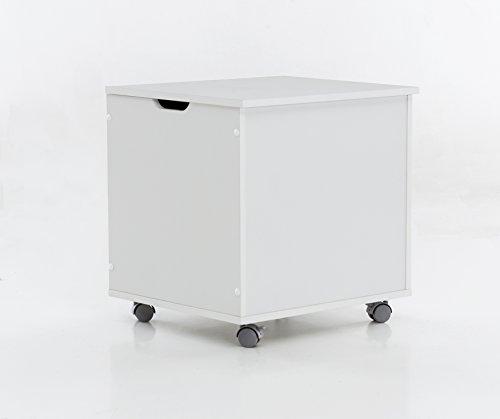 WILMES Truhe auf Rollen mit Klappe, Spanplatte, Melamin Weiß Dekor, 50 x 42 x 50.5 cm