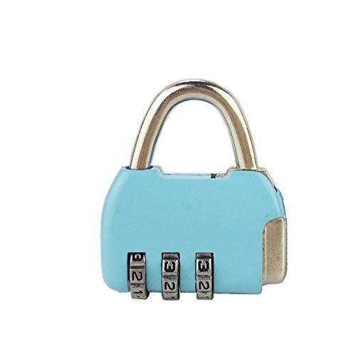 Seguridad de viaje Proteger el casillero Cerradura de maleta Cerradura de equipaje Candado de combinación de 3 dígitos para Lugga-Azul_