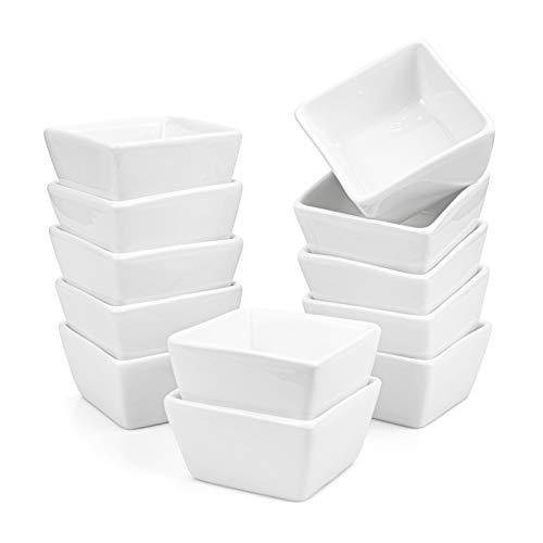 Werpower Foraineam 12 Pack 3 Oz Porcelain Dip Bowl Set, White Ramekins Condiments Server Dishes, Dipping Sauce Bowls for Vinegar, K.