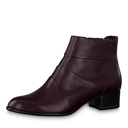 Tamaris Damen Stiefeletten 25366-23, Frauen Ankle Boots, Stiefelette Bootie knöchelhoch reißverschluss Frauen weibliche Lady,Bordeaux,40 EU / 6.5 UK