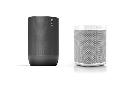 Sonos Move Smart Speaker - Indoor-Outdoor Set (1x Sonos Move schwarz + 1x Sonos One Gen. 2 weiß)