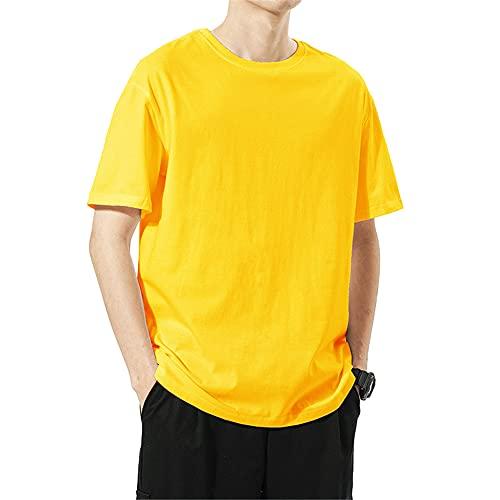 T-Shirt Hombres Color Sólido Básico Cuello Redondo Hombres Shirt De Gran Tamaño Estilo Hip Hop Verano Manga Corta Hombres Shirt Ocio Cómoda Tendencia Moda Hombres Streetwear