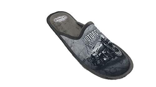 Zapatillas de Estar por casa/Hombre/Biorelax/Moto Gris/Cámara de Aire/Empeine Grenoble/Suela Goma/Talla 43
