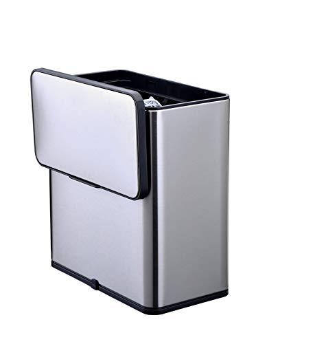 ESELLE' HOME - Cubo de basura orgánico, 6 l - acero inoxidable - filtro de olor de carbón activo en la tapa - ahorra espacio - cubo de basura colgante para la cocina -tapa extraíble