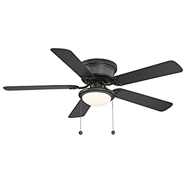 Hampton Bay Hugger 52 in. Black Ceiling Fan With Light