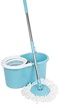 Shivonic Shivonic Advance 360 PVC mop Bucket Set 3 Microfiber Riffle with 1 Portable Wiper or 2 Car Cleaning Gloves, Unique Color Sea Blue