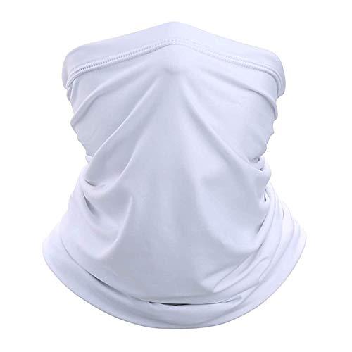 TerraWest Écharpe pour le visage, cache-cou, anti-poussière, confortable, respirant, protection solaire... (Blanc)