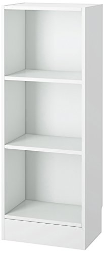 Tvilum Element Narrow 3 Shelf Bookcase, Short, White