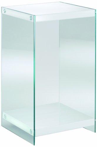 Haku Möbel 87392 Console MDF/Verre Trempé Blanc 40 x 40 x 74 cm