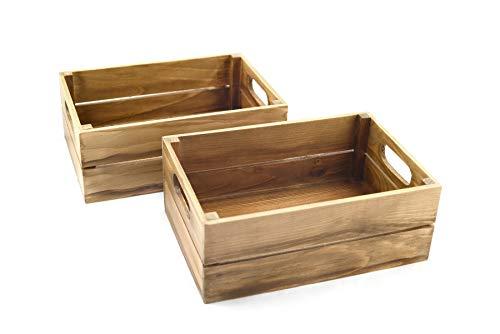 HostelNovo - Caja de Madera Natural Envejecida para Fruta - Producto sostenible y de proximidad - Madera, marrón Envejecido - 25 x 17 x 10 cm - 2 Unidades