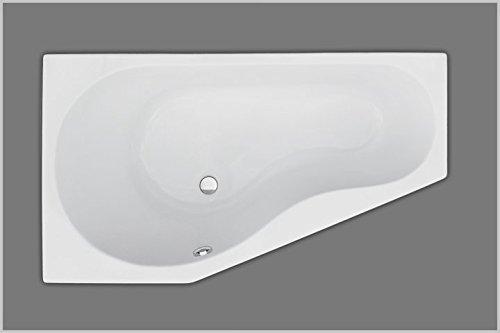 Unbekannt Raumsparbadewanne rechts weiß, 160x90cmx46,5cm, Acryl