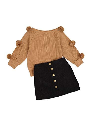Carolilly - Juego de 2 piezas de ropa de bebé con manga larga y bola de jersey de punto con botones superiores y lápiz, falda A-Line para otoño e invierno Cachi 6-7 años