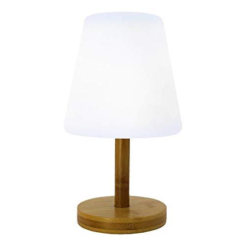 Lumisky - Lámpara de mesa inalámbrica (bambú, luz blanca cálida/blanca regulable, 25 cm de diámetro)