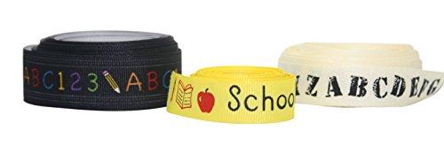 Back to School Ribbon Set of 3 Variety Pack - Alphabet Print Grosgrain - ABC & 123 - School Days - 3 Rolls