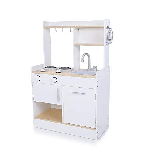 Baby Vivo Kinderküche Spielküche aus Holz Kinderspielküche Küche Holzküche Spielzeugküche mit kratzfester Oberfläche - Billy in Weiß