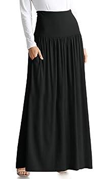 Black Maxi Skirts for Women High Waisted Maxi Skirt Ankle Length Black Skirt Flowy Maxi Skirt Long Black Skirt  Size X-Large Black