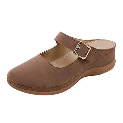 TWIFER Sandalias de Mujer Retro Sandalias de Cuero Zapatillas Zapatillas de Chanclas Tacón De Cuña de Playa Casual Zapatos Comodos de Zapatos Mujer Caminando Transpirables
